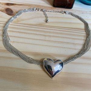 Vintage Silver Heart Choker